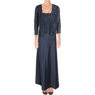 Alex Evenings Womens Petites Dress With Jacket Satin Lace