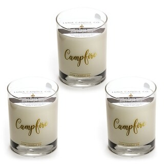 Campfire Scented Premium Candle, Natural Soy Wax Long Burn (3 Pack)