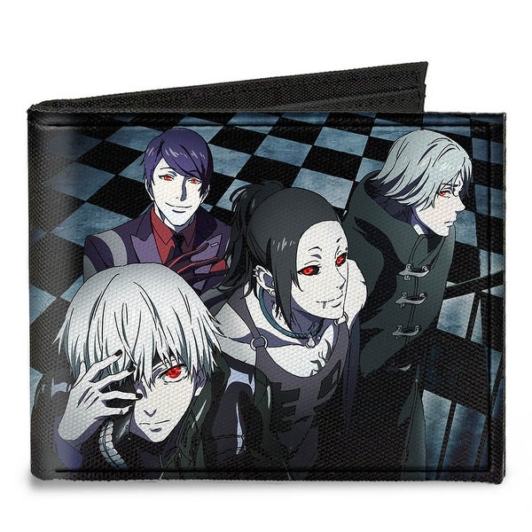 4 Ghouls Walking Up Stairs Checker Tiles + Tokyo Ghoul Canvas Bi Fold Wallet One Size - One Size Fits most