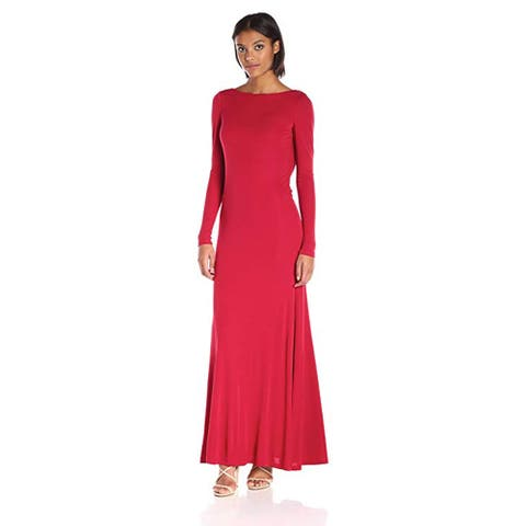 Vera Wang Rayon Jersey Long Sleeve Maxi Dress