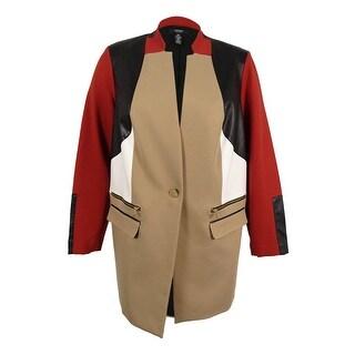 Alfani Women's Plus Size Colorblocked Topper Jacket - burnt pepper - 20W