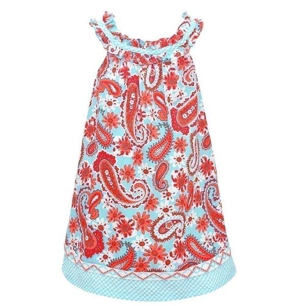 f80006503 Shop Bonnie Jean Little Girls Aqua Floral Print Ruffle Sleeveless ...