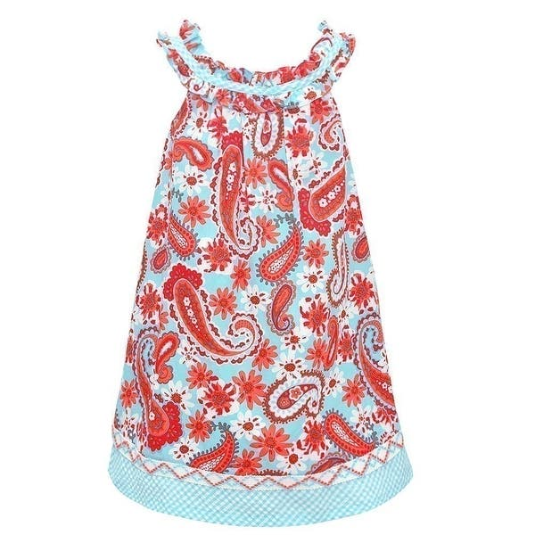b9bf9bc86aa Image Gallery. 1   2. Bonnie Jean Little Girls Aqua Floral Print Ruffle Sleeveless  Dress