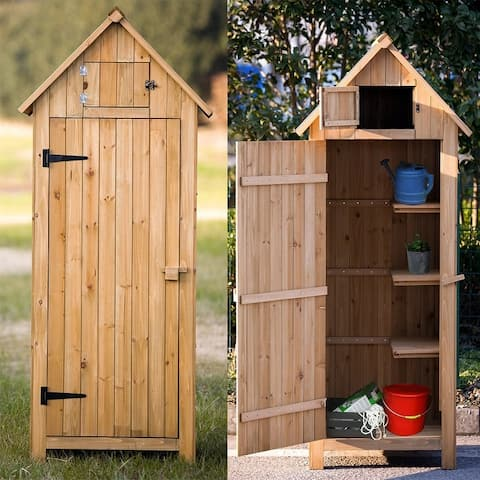 Fir wood Arrow Shed with Single Door Wooden Garden Shed Wooden Lockers Wood Color