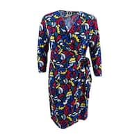 Anne Klein Women's Wrap Dress (S, Black/Canoe Multi) - Black/Canoe Multi - S
