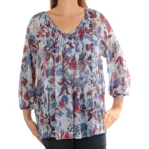 TOMMY HILFIGER Womens Blue Floral 3/4 Sleeve V Neck Top Size: L