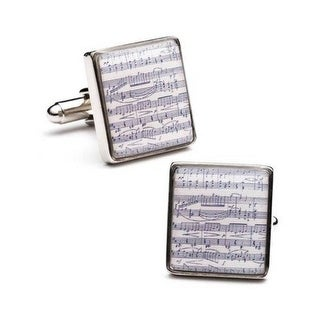Silver Plated Sheet Music Cufflinks Classical