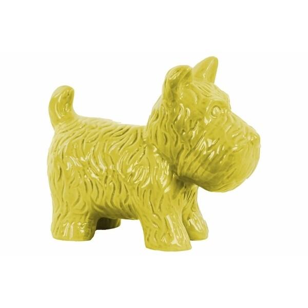 Ceramic Standing Welsh Terrier Dog Figurine, Glossy Yellow