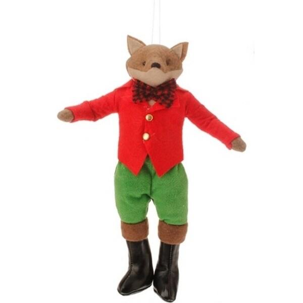 "10"" Christmas Traditions Holiday Boy Fox Plush Christmas Ornament"