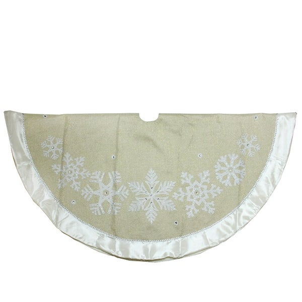 "48"" Metallic Gold and Silver Snowflake Christmas Tree Skirt with Satin Border - N/A"