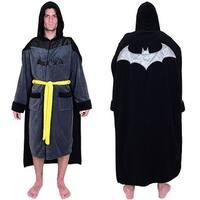 DC Comics Batman Men's Fleece Bathrobe with Cape - Black