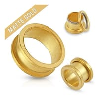 Matte Gold IP Over 316L Surgical Steel Screw Fit Tunnel (Sold Ind.)