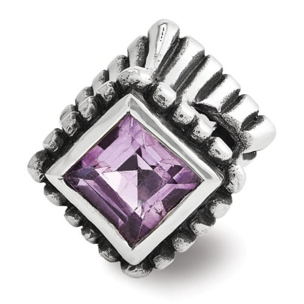 Sterling Silver Reflections Amethyst Bead (4mm Diameter Hole)