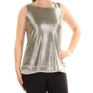 CALVIN KLEIN Womens Gold Metallic Sleeveless Crew Neck Casual Top Size L