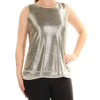 Womens Gold Sleeveless Crew Neck Top Size 44.25