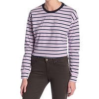 Code x Mode Purple Blue Womens Size Large L Striped Long Sleeve Knit Top 650