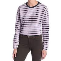 Code x Mode Purple Blue Womens Size XL Striped Long Sleeve Knit Top 810