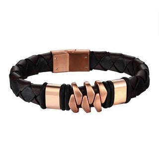Stainless Steel Rose Gold Tone Bracelet Leather Braided Wristband