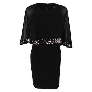 Betsy & Adam Women's Capelet Sequined Trim Dress - Black