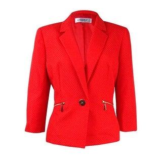 Kasper Women's Petite Textured Single Button Blazer