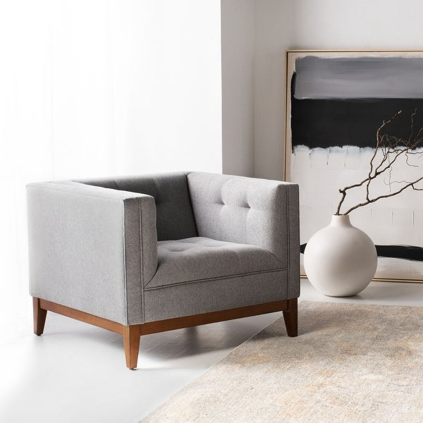 Safavieh Couture Garnet Linen Button Tufted Arm Chair. Opens flyout.