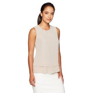 Calvin Klein Petite Pleated Layered Sleeveless Shell Blouse - ps
