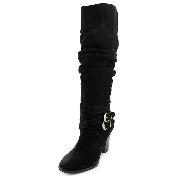 INC International Concepts Jordana Wide Calf Women Suede Black Knee High Boot