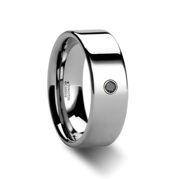 THORSTEN - KNOXVILLE Flat Style Polished Tungsten Black Diamond Ring - 6mm
