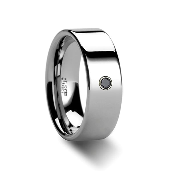 THORSTEN - KNOXVILLE Flat Style Polished Tungsten Black Diamond Ring
