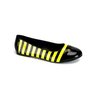 Pleaser Sweet Honey Bee Adult Ballet Flat Shoes - black/yellow