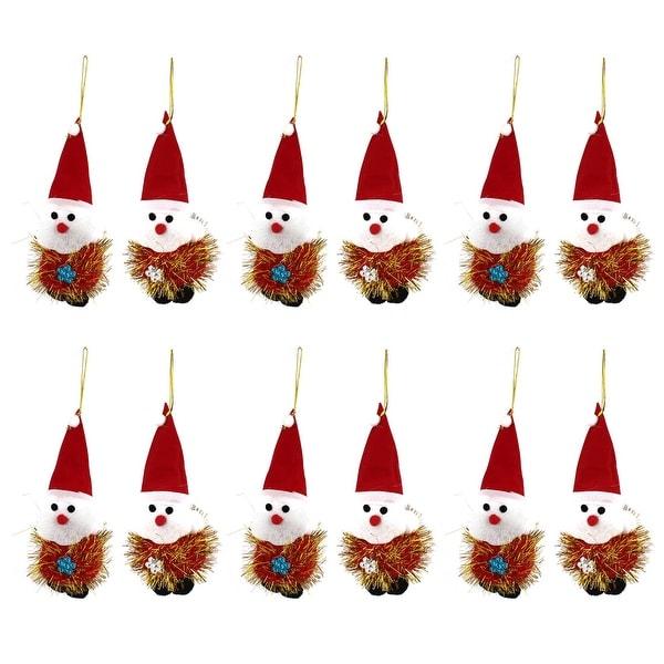 Unique Bargains 12PCS Red Cap Detail Dangling Christmas Santa Claus Pendant for Indoor Xmas Tree