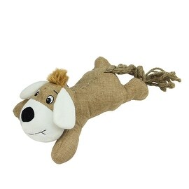 Plush Animal with Knotted Rope Tail Durable Puppy Dog Chew Toy with Squeaker