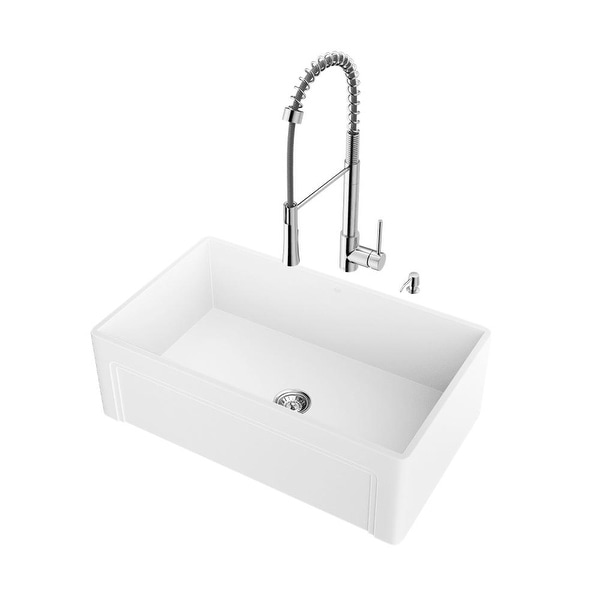 Shop Vigo Vg15486 30 Farmhouse Acrylic Kitchen Sink With A Single