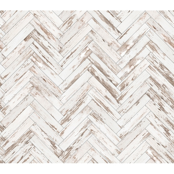 Rustic Wood Parquet Removable Wallpaper - 10'ft H x 24''inch W. Opens flyout.