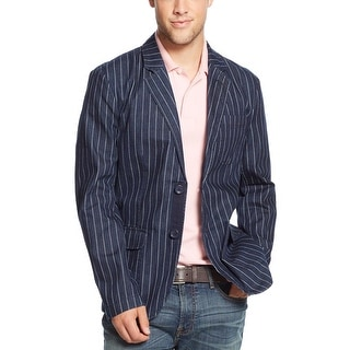 Tommy Hilfiger Rinse Blue Chalk-Striped Cotton Denim Blazer Small Two Buttons
