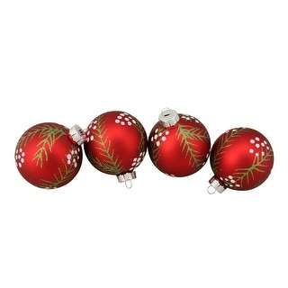 """Link to 4ct Matte Red with Pine Needles Glass Christmas Ball Ornaments 3.25"""" (80mm) Similar Items in Christmas Decorations"""
