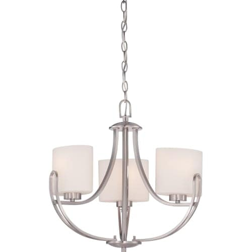 Nuvo Lighting 60/5298 Lola 3 Light 1 Tier Chandelier in Brushed Nickel