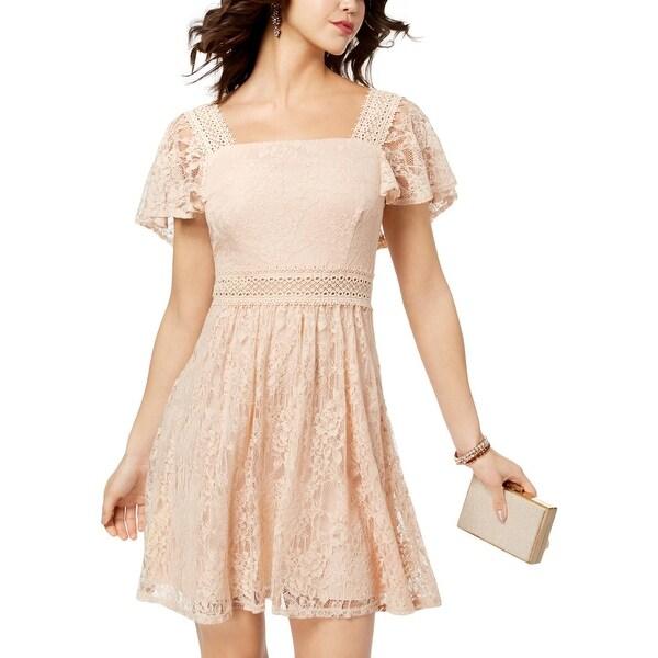 888dc8e9aa4d8b Shop B. Darlin Womens Juniors Mini Dress Lace Flutter Sleeves - Free ...