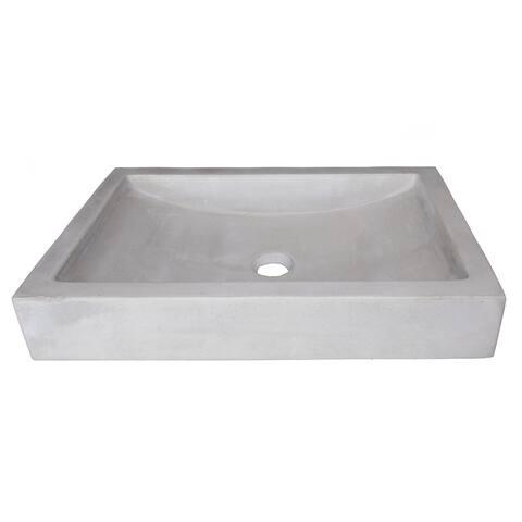 Eden Bath Shallow Wave Concrete Rectangular Vessel Sink - Light Gray