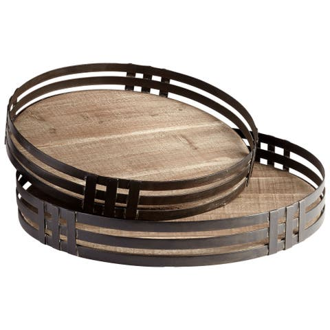Cyan Design 09041 Banded About 2 Piece Iron and Wood Tray Set