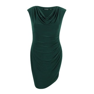 Lauren Ralph Lauren Women's Cap Sleeve Jersey Dress (16P, Woodland Green) - Woodland Green - 16p