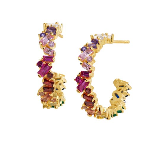 Rainbow Cubic Zirconia Baguette Hoop Earrings in Gold-Plated Sterling Silver - Multi-Color