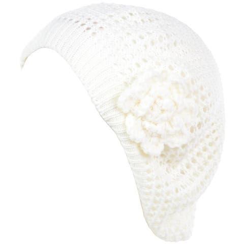 Women's Chic Cutout Open Net Lightweight Slouchy Crochet Beret