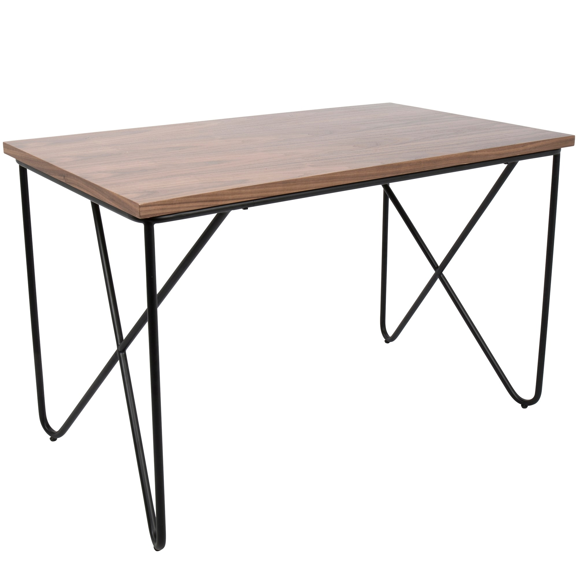 Image of: Shop Black Friday Deals On Loft Mid Century Modern Office Desk With Black Frame And Walnut Wood Top Overstock 17652301