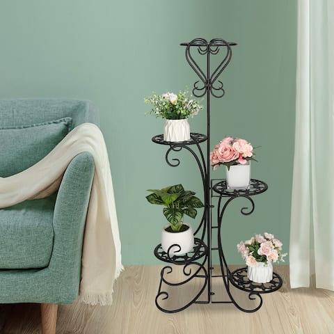 Metal Plant Shelf Stand 5 Tier Shelves Indoor Outdoor