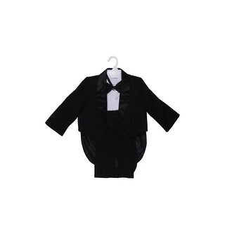 Wallao Boys Tuxedo Dresswear Set with Tail, Bow Tie, Cummerbund Black