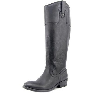 Frye Carson Riding Button Women Round Toe Leather Black Knee High Boot