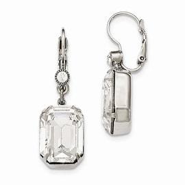 Silvertone Swarovski Elements & Simulated Pearl Post Earrings