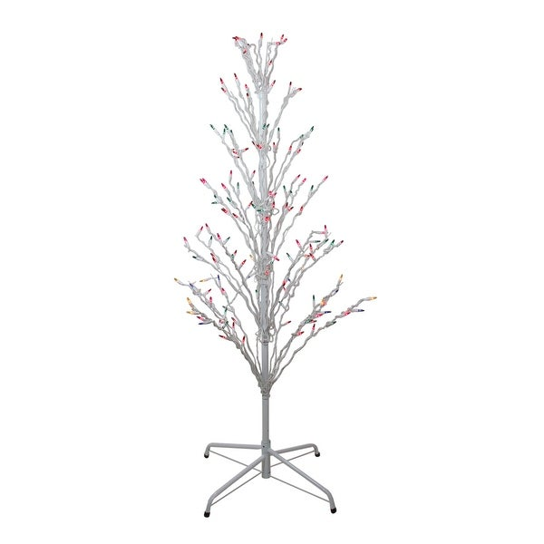 Outdoor White Twig Christmas Tree: Shop 4' White Lighted Christmas Cascade Twig Tree Outdoor