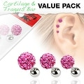 3 Pcs Value Pack of Assorted 316L Tragus Bar with Pink Ferido Ball - Thumbnail 0